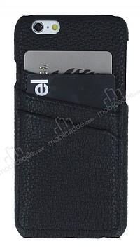 Eiroo Card Pass iPhone 6 / 6S Deri Kartlıklı Siyah Kılıf