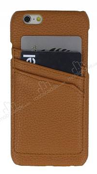 Eiroo Card Pass iPhone 6 / 6S Deri Kartlıklı Kahverengi Kılıf