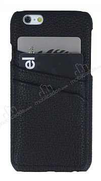 Eiroo Card Pass iPhone 6 Plus / 6S Plus Deri Kartlıklı Siyah Kılıf