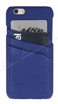 Eiroo Card Pass iPhone 6 Plus / 6S Plus Deri Kartlıklı Lacivert Kılıf