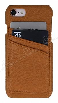 Eiroo Card Pass iPhone 7 / 8 Deri Kartlıklı Kahverengi Kılıf