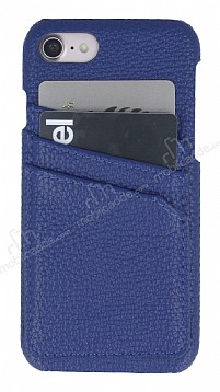 Eiroo Card Pass iPhone 7 / 8 Deri Kartlıklı Lacivert Kılıf