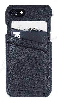 Eiroo Card Pass iPhone 7 / 8 Deri Kartlıklı Siyah Kılıf