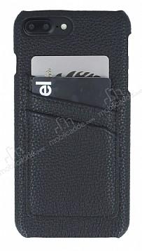 Eiroo Card Pass iPhone 7 Plus / 8 Plus Deri Kartlıklı Siyah Kılıf