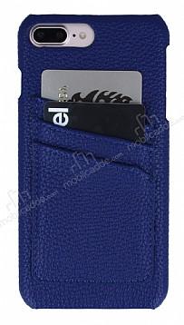 Eiroo Card Pass iPhone 7 Plus / 8 Plus Deri Kartlıklı Lacivert Kılıf