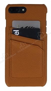 Eiroo Card Pass iPhone 7 Plus / 8 Plus Deri Kartlıklı Kahverengi Kılıf