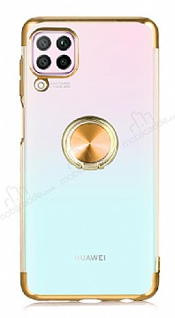 Eiroo Clear Ring Huawei P40 Lite Gold Kenarlı Silikon Kılıf