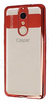 Eiroo Clear Thin Casper Via G1 Plus Kırmızı Kenarlı Şeffaf Silikon Kılıf