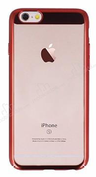 Eiroo Clear Thin iPhone 6 / 6S Kırmızı Kenarlı Şeffaf Rubber Kılıf