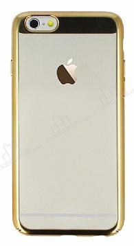 Eiroo Clear Thin iPhone 6 Plus / 6S Plus Gold Kenarlı Şeffaf Rubber Kılıf