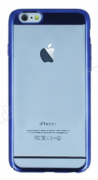 Eiroo Clear Thin iPhone 6 Plus / 6S Plus Lacivert Kenarlı Şeffaf Rubber Kılıf
