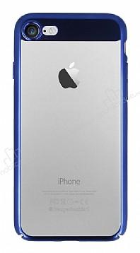 Eiroo Clear Thin iPhone 7 / 8 Lacivert Kenarlı Şeffaf Rubber Kılıf