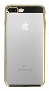Eiroo Clear Thin iPhone 7 Plus / 8 Plus Gold Kenarlı Şeffaf Rubber Kılıf
