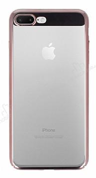 Eiroo Clear Thin iPhone 7 Plus / 8 Plus Rose Gold Kenarlı Şeffaf Rubber Kılıf