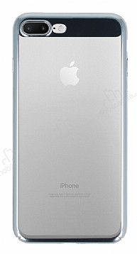 Eiroo Clear Thin iPhone 7 Plus / 8 Plus Silver Kenarlı Şeffaf Rubber Kılıf