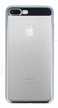 Eiroo Clear Thin iPhone 7 Plus / 8 Plus Silver Kenarlı Şeffaf Rubber Kılıf