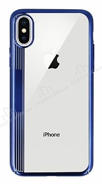 Eiroo Clear Thin iPhone X Lacivert Kenarlı Şeffaf Rubber Kılıf