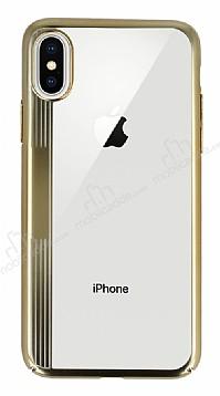 Eiroo Clear Thin iPhone X Gold Kenarlı Şeffaf Rubber Kılıf