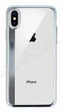 Eiroo Clear Thin iPhone X Silver Kenarlı Şeffaf Rubber Kılıf