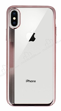 Eiroo Clear Thin iPhone X Rose Gold Kenarlı Şeffaf Rubber Kılıf