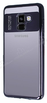 Eiroo Clear Thin Samsung Galaxy A8 2018 Siyah Kenarlı Şeffaf Silikon Kılıf