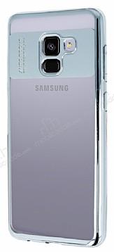 Eiroo Clear Thin Samsung Galaxy A8 Plus 2018 Silver Kenarlı Şeffaf Silikon Kılıf