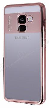 Eiroo Clear Thin Samsung Galaxy A8 Plus 2018 Rose Gold Kenarlı Şeffaf Silikon Kılıf