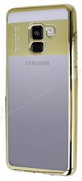 Eiroo Clear Thin Samsung Galaxy A8 Plus 2018 Gold Kenarlı Şeffaf Silikon Kılıf