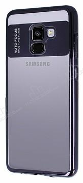 Eiroo Clear Thin Samsung Galaxy A8 Plus 2018 Siyah Kenarlı Şeffaf Silikon Kılıf