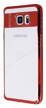 Eiroo Clear Thin Samsung Galaxy Note 5 Kırmızı Kenarlı Şeffaf Silikon Kılıf