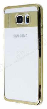 Eiroo Clear Thin Samsung Galaxy Note 5 Gold Kenarlı Şeffaf Silikon Kılıf