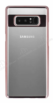 Eiroo Clear Thin Samsung Galaxy Note 8 Rose Gold Kenarlı Şeffaf Rubber Kılıf