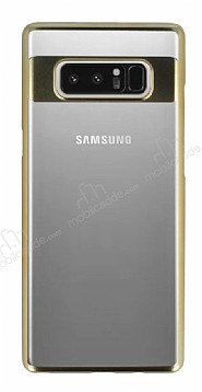 Eiroo Clear Thin Samsung Galaxy Note 8 Gold Kenarlı Şeffaf Rubber Kılıf