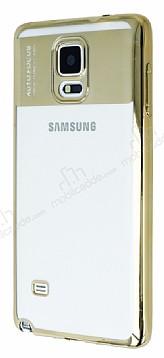Eiroo Clear Thin Samsung Galaxy Note 4 Gold Kenarlı Şeffaf Silikon Kılıf