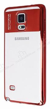 Eiroo Clear Thin Samsung Galaxy Note 4 Kırmızı Kenarlı Şeffaf Silikon Kılıf