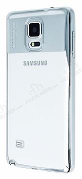 Eiroo Clear Thin Samsung Galaxy Note 4 Silver Kenarlı Şeffaf Silikon Kılıf