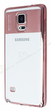 Eiroo Clear Thin Samsung Galaxy Note 4 Rose Gold Kenarlı Şeffaf Silikon Kılıf