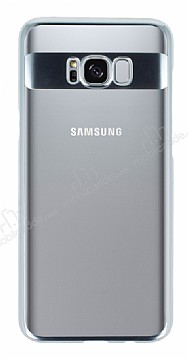 Eiroo Clear Thin Samsung Galaxy Note 8 Silver Kenarlı Şeffaf Rubber Kılıf