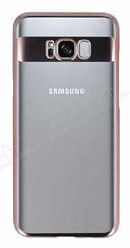 Eiroo Clear Thin Samsung Galaxy S8 Rose Gold Kenarlı Şeffaf Rubber Kılıf