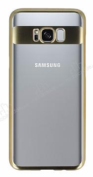 Eiroo Clear Thin Samsung Galaxy Note S8 Plus Gold Kenarlı Şeffaf Rubber Kılıf