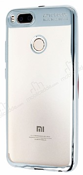Eiroo Clear Thin Xiaomi Mi 5X / Mi A1 Silver Kenarlı Şeffaf Silikon Kılıf