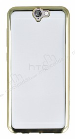 Eiroo Color Fit HTC One A9 Gold Kenarl� �effaf Silikon K�l�f