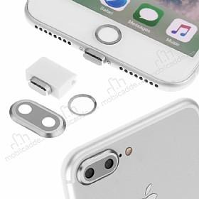 Eiroo Dust Plug iPhone 7 Plus / 8 Plus Silver Koruma Seti