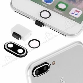 Eiroo Dust Plug iPhone 7 Plus / 8 Plus Siyah Koruma Seti