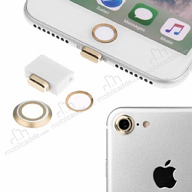 Eiroo Dust Plug iPhone 7 / 8 Gold Koruma Seti