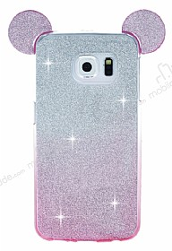 Eiroo Ear Sheenful Samsung Galaxy S6 Edge Pembe Silikon Kılıf