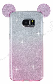 Eiroo Ear Sheenful Samsung Galaxy S7 Edge Pembe Silikon Kılıf