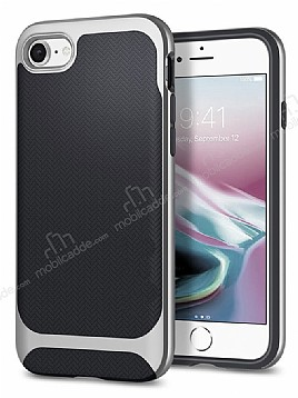 Eiroo Efficient iPhone 7 / 8 Silver Kenarlı Ultra Koruma Kılıf