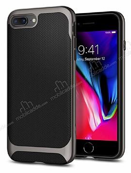 Eiroo Efficient iPhone 7 Plus / 8 Plus Dark Silver Kenarlı Ultra Koruma Kılıf