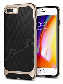 Eiroo Efficient iPhone 7 Plus / 8 Plus Gold Kenarlı Ultra Koruma Kılıf